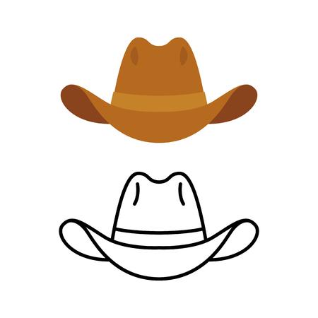 Cowboy-Hut-Symbol. Zwei Varianten, flache Farbe und Linie-Symbol. Einfache Karikaturhut Illustration. Vektorgrafik