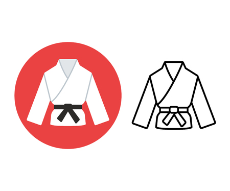 black belt: Martial arts icon. Two variants, flat color and line icon. Karate or judo uniform (gi) with black belt.