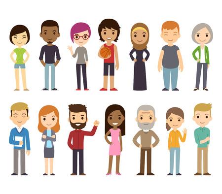 Conjunto de diversas personas del vector. Hombres y mujeres, jóvenes y viejos, diferentes poses. estilo de dibujos animados plana moderna linda y sencilla.