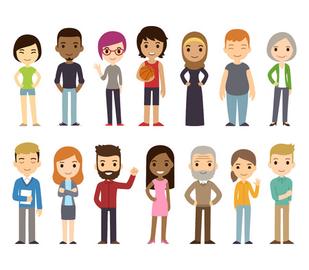 Set of diverse vector people. Men and women, young and old, different poses. Cute and simple modern flat cartoon style.