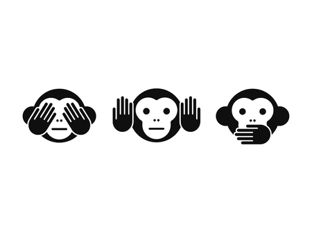 three animals: See no Evil, Hear no Evil, Speak no Evil monkey icon set. Simple modern vector illustration.