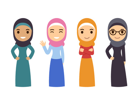 Muslim women set. Cute cartoon Arab girls in traditional dress. Businesswomen collection.