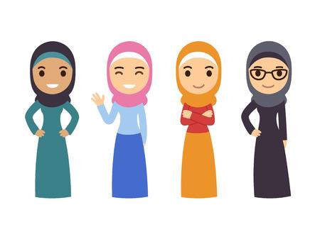 Muslimische Frauen gesetzt. Nette Karikatur arabische Mädchen in traditioneller Kleidung. Geschäftssammlung. Vektorgrafik
