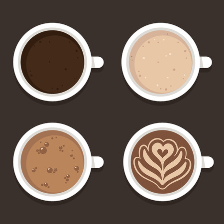 Different types of coffee: espresso, cappuccino and latte art. Top view coffee cups, vector illustration. Flat icon set.