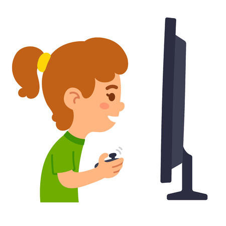 playing games: Little cartoon girl playing games in front of screen. Children and videogames illustration.