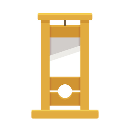 beheading: Guillotine isolated illustration in flat cartoon style.
