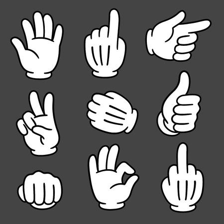 gesture set: Cartoon hands gesture set on dark background. Traditional cartoon white glove. Vector clip art illustration.