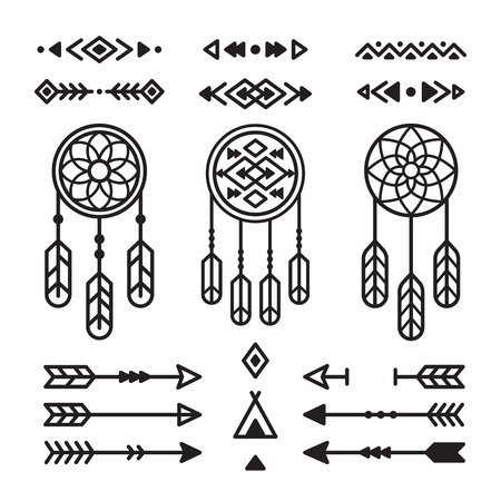 Native American Indian Design Elements Set Borders Arrows
