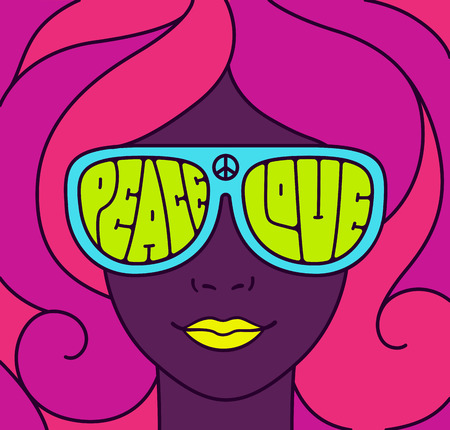 Hippie Love and Peace poster. Retro style typography, pretty girl in neon colors. Groovy vintage illustration.