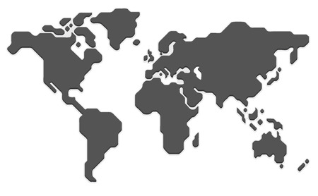 Stylized world map. Modern flat vector illustration.