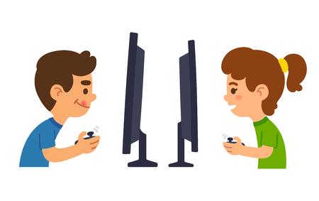 jugando videojuegos: Los dibujos animados niños y niñas jugando juegos de video juntos. Ilustración del vector. Vectores
