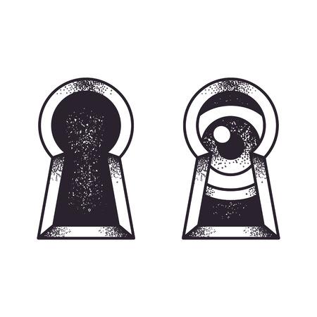 Keyhole con illustrazione d'epoca occhio. Tradizionale tatuaggio old school, incisione stile vita bassa. Archivio Fotografico - 56736282