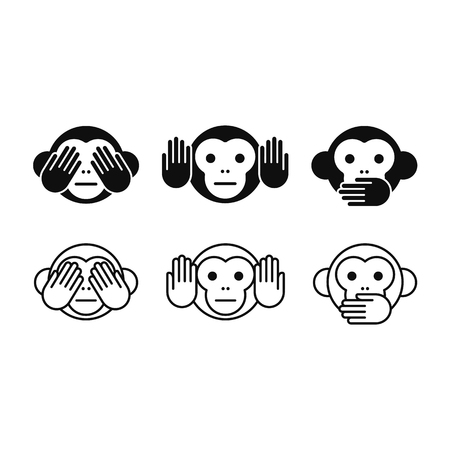 character traits: See no Evil, Hear no Evil, Speak no Evil monkey icon set in two styles, solid and line. Simple modern vector illustration.