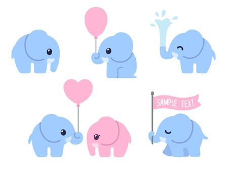 conjunto de dibujos animados lindo bebé elefante. elefantes poco adorable, tarjetas de felicitación elementos de diseño.