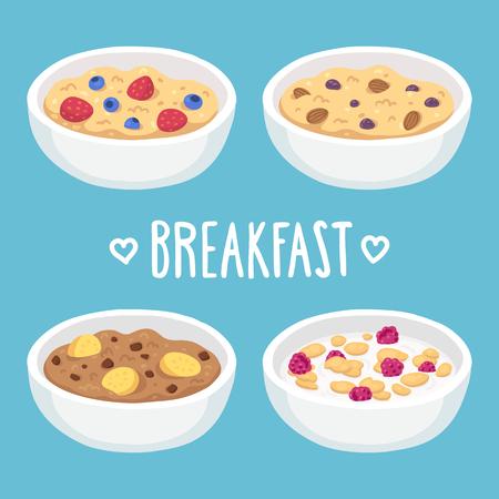 손으로 그린 아침 식사 그릇을 설정합니다. 과일, 초콜릿, 견과류와 오트밀, 시리얼.