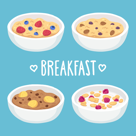 ingredients: Hand drawn breakfast bowl set. Oatmeal and cereal with fruits, chocolate and nuts.