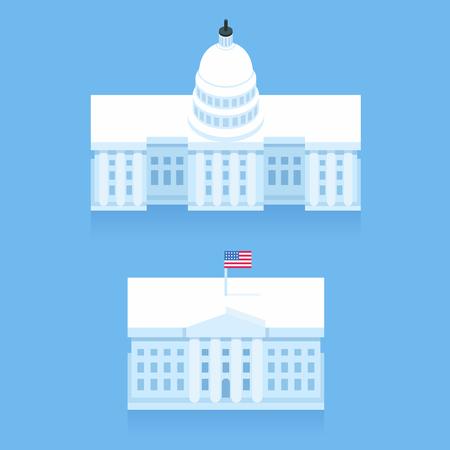 Casa Blanca y el Capitolio edificio en estilo de dibujos animados plana estilizada. puntos de referencia de Washington DC.
