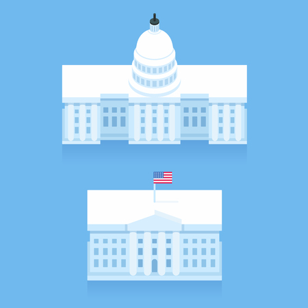 capitol building: White House and Capitol building in stylized flat cartoon style. Washington DC landmarks.