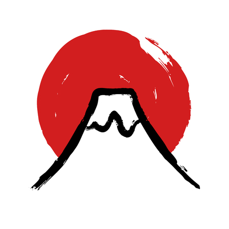 sumi e: Japanese Fuji mountain with red sun circle in traditional calligraphy style. Vector illustration.
