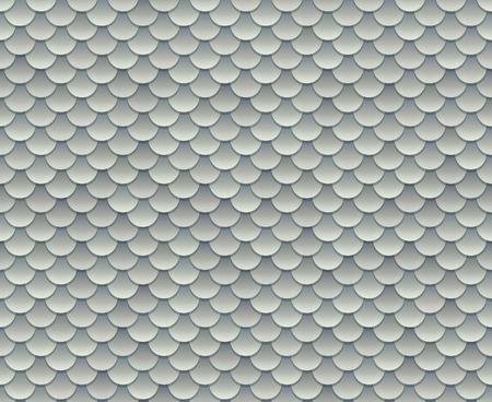 Plata textura de escamas de pescado o patrón transparente armadura de metal. Ilustración del vector.