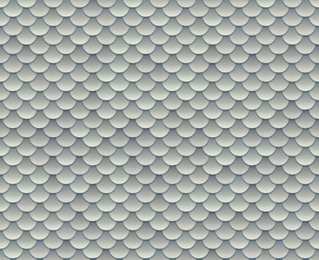 grey scale: Silver fish scale texture or metal armor seamless pattern. Vector illustration.