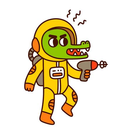 space invader: Cute cartoon space crocodile. Funny alien with blaster gun illustration.