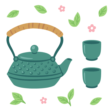 tetsubin: Japanese tea set, iron tea pot with two cups surronded by tea leaves and flowers.