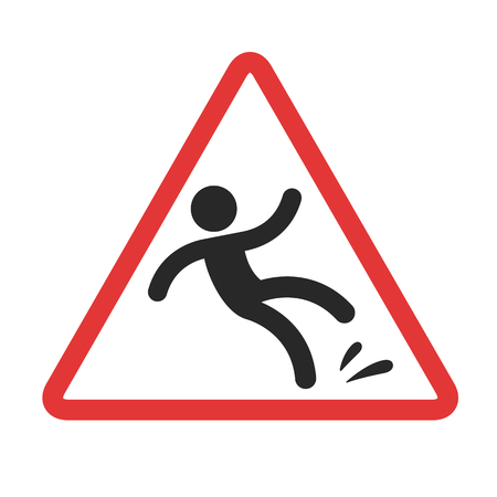 wet floor caution sign: Warning sign, caution wet floor. Falling man in red triangle vector symbol.