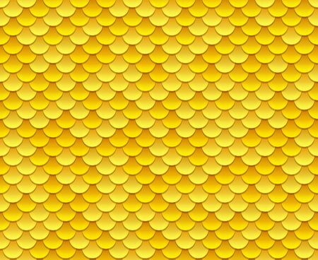 glowing skin: Golden fish scale texture or shiny sequins seamless pattern. Vector illustration.