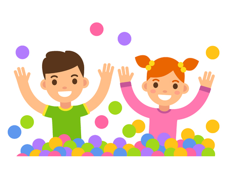 pit: Children in ball pit illustration. Cute cartoon boy and girl playing in a ball pit.