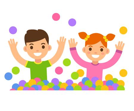 playmates: Los niños en la ilustración bola hoyo. niño de dibujos animados lindo y muchacha que juegan en una piscina de bolas. Vectores