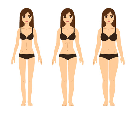 fit body: Female body types: skinny (underweight), fit (hourglass figure)and thick (with abdominal fat). Cute girls in underwear.