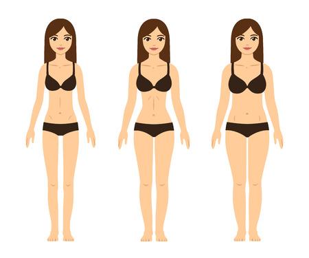 Vrouwelijk lichaam types: mager (ondergewicht), fit (zandloper figuur) en dik (met abdominaal vet). Schattige meisjes in ondergoed.