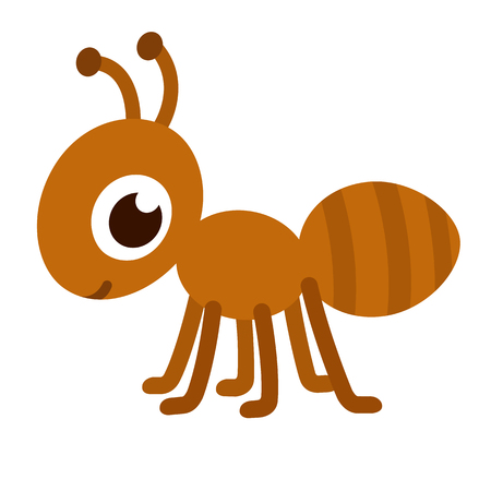 Cute cartoon ant. Happy little ant vector illustration.