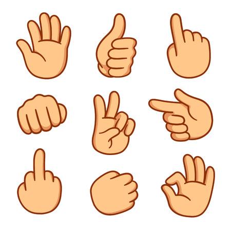 Set di mani di cartone animato. Illustrazione vettoriale di gesti diversi.
