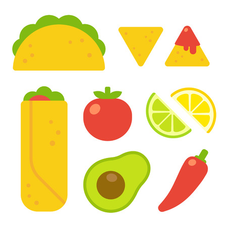 chips and salsa: Mexican food set in flat vector cartoon style. Taco and burrito, nachos with salsa, traditional ingredients like tomato, avocado and chili pepper.