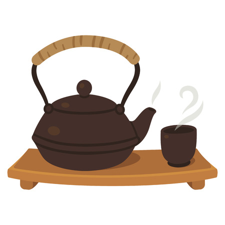 tea ceremony: Japanese tea set, tea pot and cup on wooden board. Tea ceremony illustration. Illustration