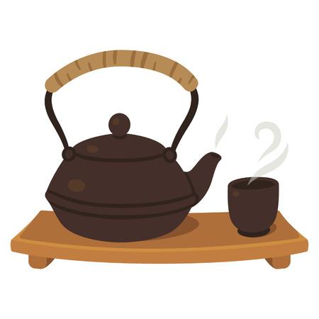 Japanese tea set, tea pot and cup on wooden board. Tea ceremony illustration. Illustration