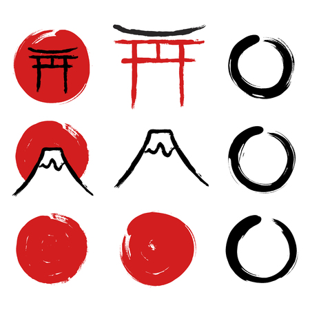 Set of hand-drawn traditional Japanese symbols. Red circles, Torii gate, Enso Zen circles, mount Fuji calligraphy. Vector illustration.