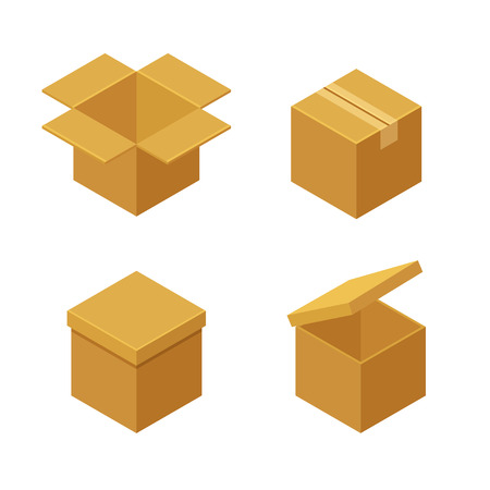 packing tape: Boxes and packaging icon set. Closed and open isometric cardboard boxes. Flat vector illustration.