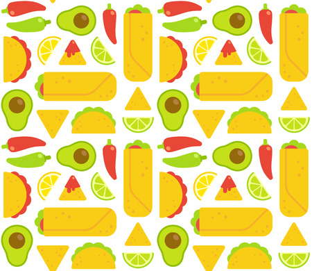 chips and salsa: Mexican food seamless pattern. Tacos, burritos, nachos and traditional food ingredients. Flat geometric cartoon style.