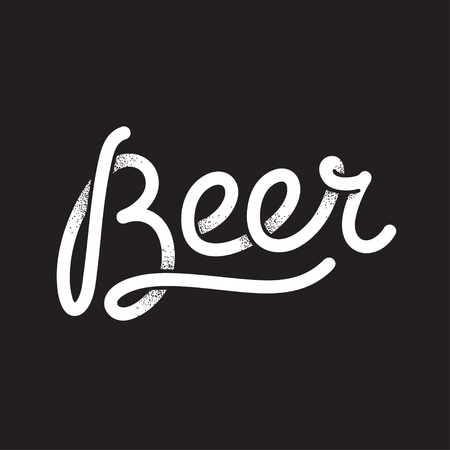 beer texture: Beer, lettering illustration. Retro cartoon style typography with vintage texture. Illustration