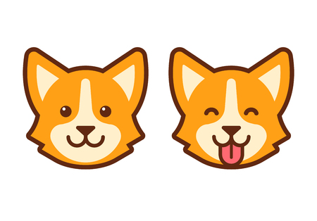 かわいい漫画のコーギーの顔。フラット犬頭のアイコン デザイン。