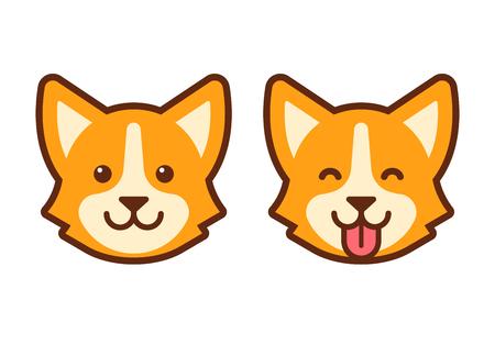 Cute cartoon corgi face. Flat dog head icon design.