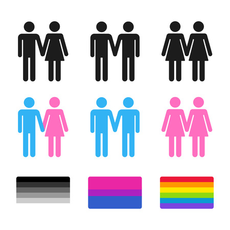 Heterosexual and homosexual couple symbols with pride flags. Stylized gay and lesbian couples, bisexual flag. icon set.