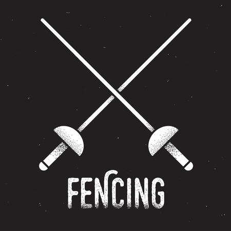 swordsmanship: Fencing emblem. Two crossed rapier swords with retro style texture. Vintage icon.