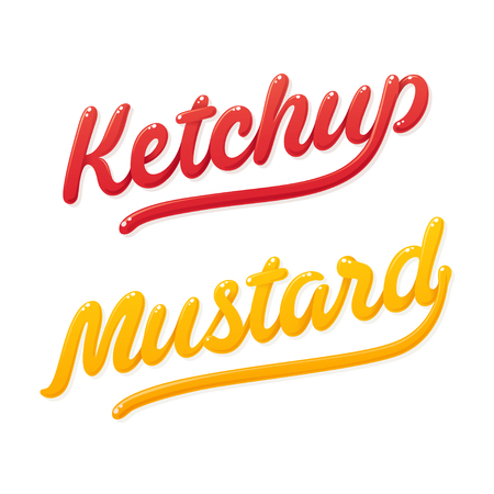 mustard: Ketchup and mustard lettering. Modern shiny handwritten typography. Isolated vector illustration.