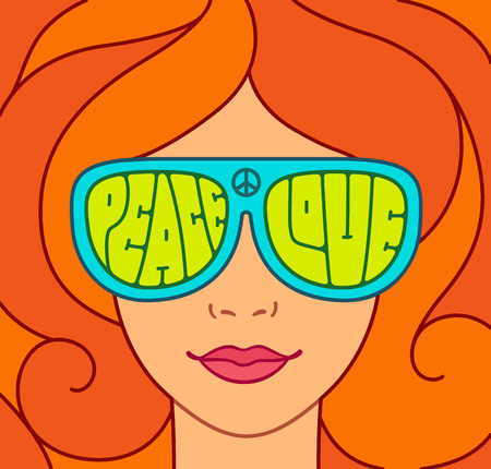 red hair: Hippie Love and Peace illustration. Beautiful red hair girl with sunglasses. Retro typography.