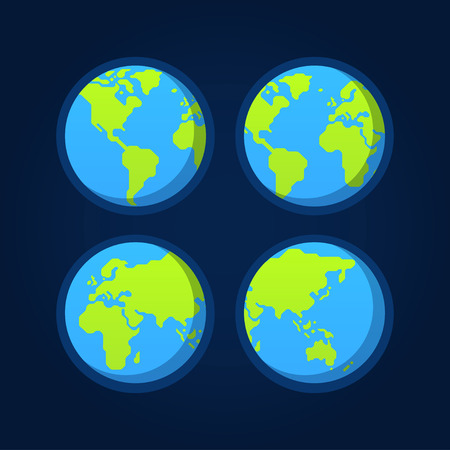 set of 4 flat globe icons stylized geometric world map earth from space