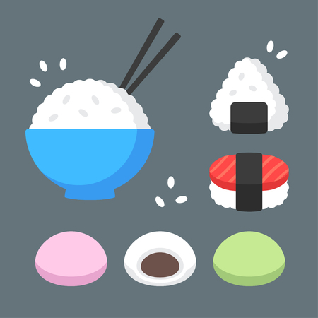 fried rice: Japanese food rice dishes icon set. Bowl of rice with chopsticks, onigiri and sushi, mochi rice cakes with red bean paste filling. Flat cartoon vector icons.